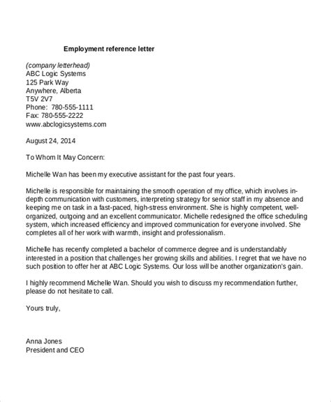 reference letter template from employer 10 employment reference letter templates free sle