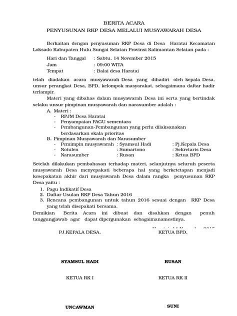 Berita Acara Musyawarah Desa (RKPDes)