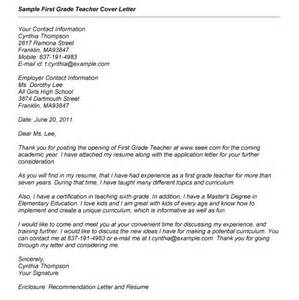 cover letter for teaching in school resume exles templates cover letter no