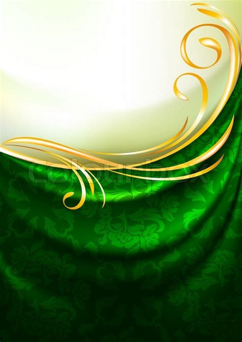 Artistic Drapery Green Fabric Drapes With Ornament Background Eps10