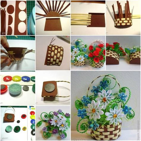 quilling weaving tutorial how to make woven paper quilling flower basket step by