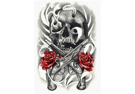 guns and roses tattoo skull gun designs images