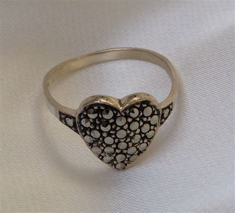 sparkling antique marcasite sterling silver ring
