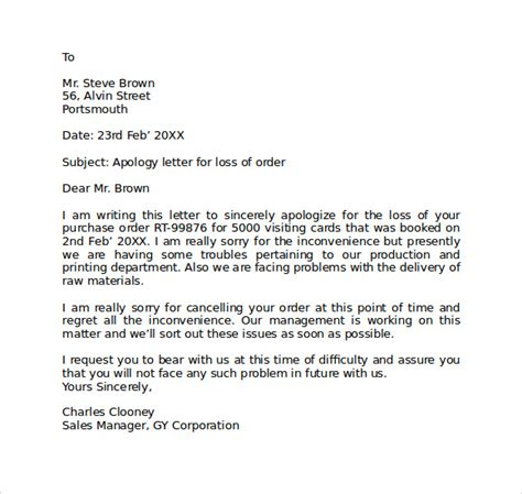 apology letter to supplier for cancellation of order apology letter for mistake 8 free documents in