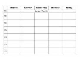 Blank Calendar Template Monday Through Friday by Monday Thru Friday Calendar Template Calendar Template 2016