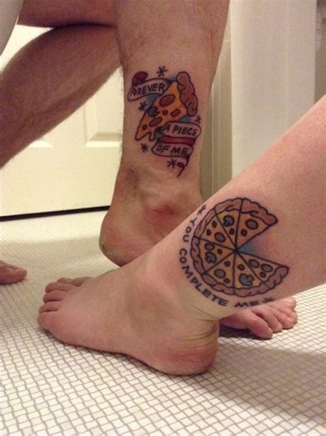 couple tattoo on leg 40 traditional pizza tattoos