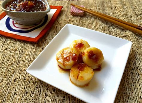 ung onion pan seared scallops with japanese spicy onion sauce