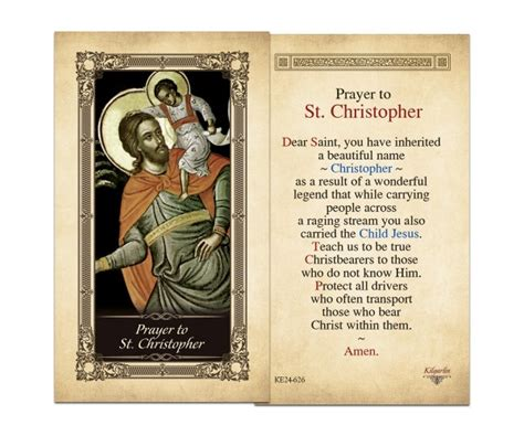 holy cards st christopher laminated holy card