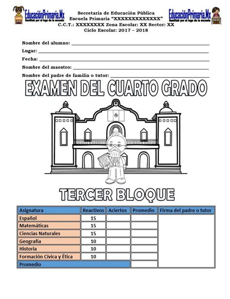 examen del cuarto grado del tercer bloque del ciclo examen del cuarto grado para el tercer bloque del ciclo