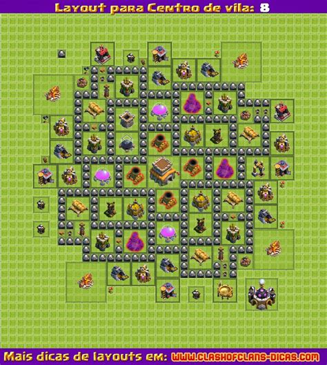 layout hibrido cv 7 com dispersor aereo layouts para clash of clans centro de vila 8