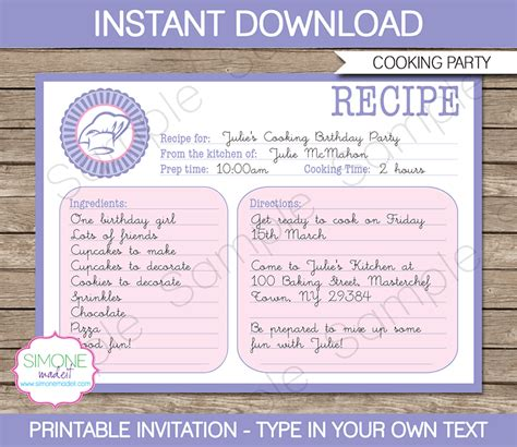 real simple recipe card template cooking recipe card invitations template birthday