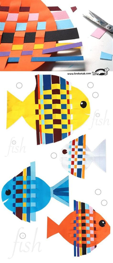 Craft With Paper Strips - fish from interwoven colored paper strips boys arts and