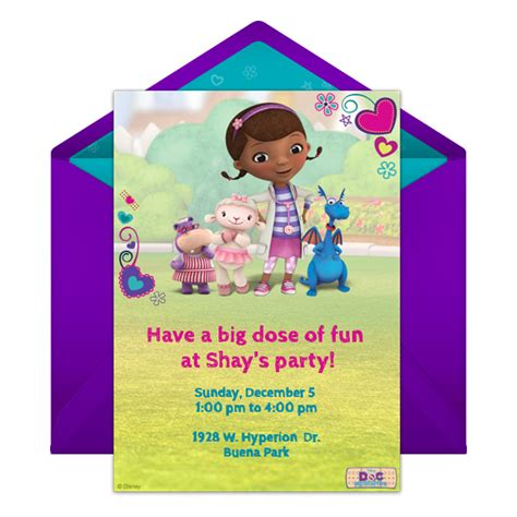 doc mcstuffins party online invitation disney family