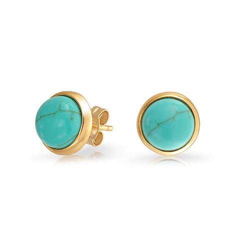 turquoise earrings 925 silver synthetic turquoise stud earrings