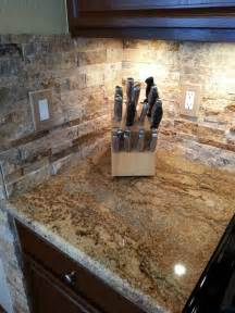 Natural Stone Kitchen Backsplash by Kitchen Updating Painted Sherwin Williams Quot Fiery Brown