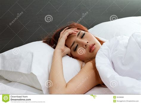 sick in bed images sick woman on bed royalty free stock photos image 32438998