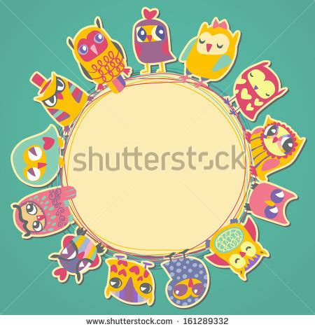 circular place card template frame teddy bears raster clip stock illustration