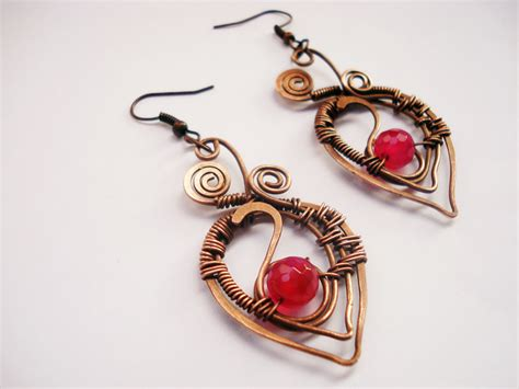 Handmade Unique Jewelry - handmade set wire wrapping with copper wire and