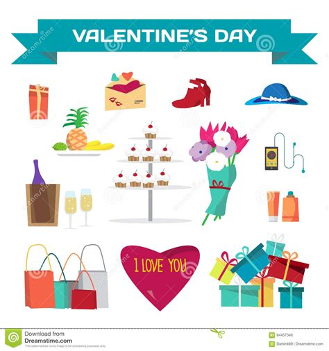 valentines day things set of valentines day things vector flat