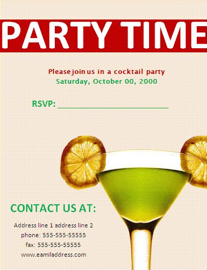 template invitation to party invite