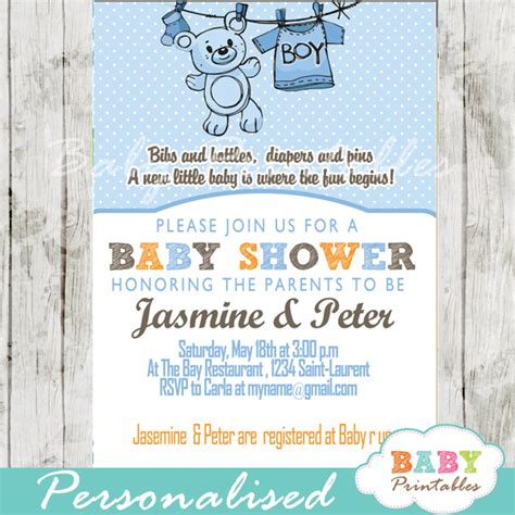 Clothesline Baby Shower Invitations by Blue Clothesline Baby Shower Invitation D151 Baby