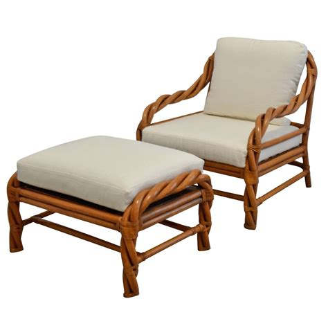 wicker chair with ottoman rattan club chair and ottoman at 1stdibs