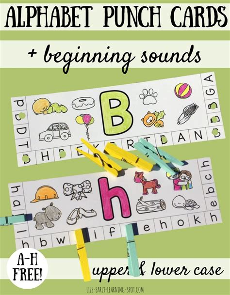 Research Based Letter Sound Interventions Alphabet Punch Cards With Beginning Sounds Liz S Early Learning Spot