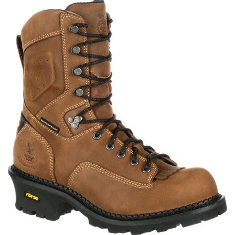 comfortable waterproof work boots comfort logger safety toe waterproof work boot georgia boot