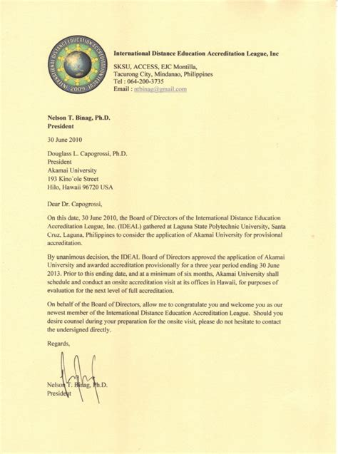 Letter Of Intent Template For Accreditation Application Letter For President