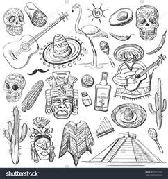 hand drawn set of mexican symbols guitar sombrero