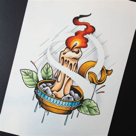 traditional candle tattoo candle elements design flash by calico1225