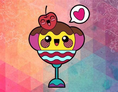 imagenes de helados kawaii para dibujar dibujo de copa de helado kawaii pintado por en dibujos net