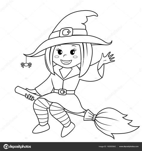 imagenes de halloween a blanco y negro bruja de halloween volando en escoba ilustraci 243 n de