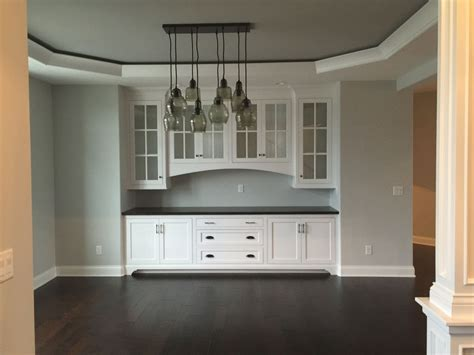 dining room built  buffet tray ceiling pottery barn