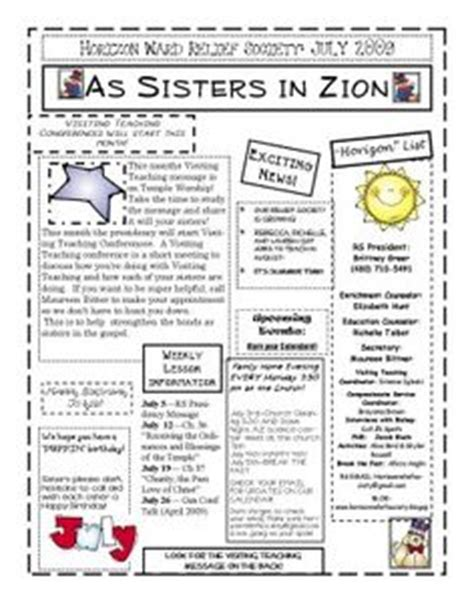 1000 Images About Lds Relief Society On Pinterest Relief Society Visiting Teaching And Relief Society Newsletter Template Free