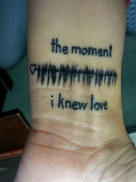 baby heartbeat tattoo wrist of the sound waves from the 1st time i heard