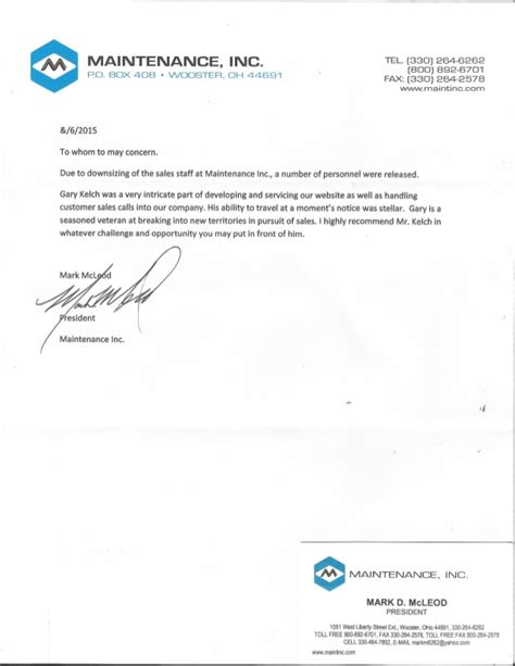 Reference Letter For Maintenance Letter Of Recommendation Maintenance Inc