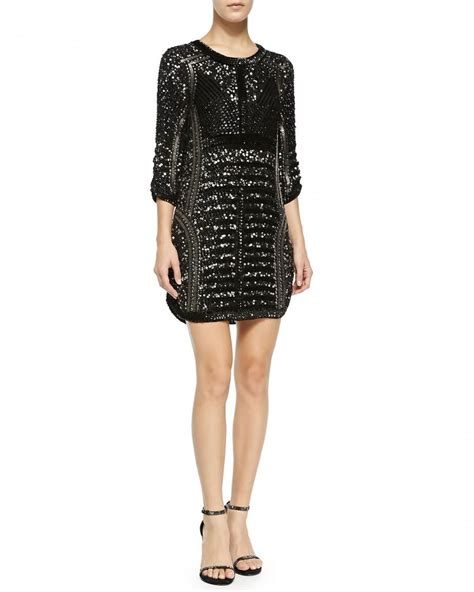 evening sequined beaded cocktail dress