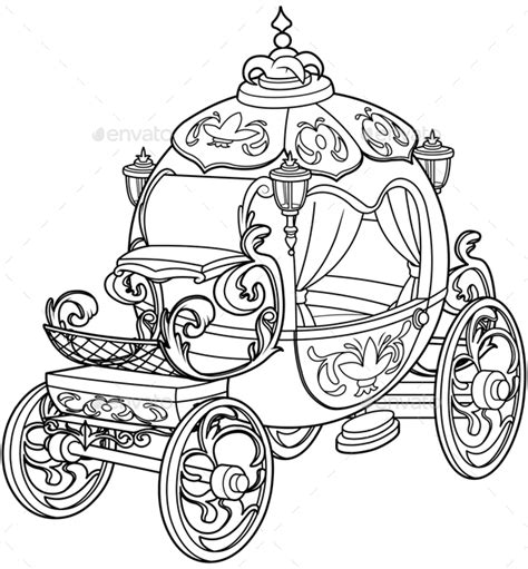 pumpkin carriage coloring page cinderella fairy tale pumpkin carriage by dazdraperma