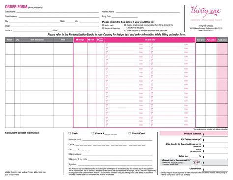 printable order form for thirty one order form us by heather stclair issuu