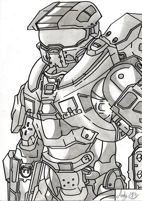 imagenes de halo para dibujar a lapiz master chief halo por andy183 dibujando