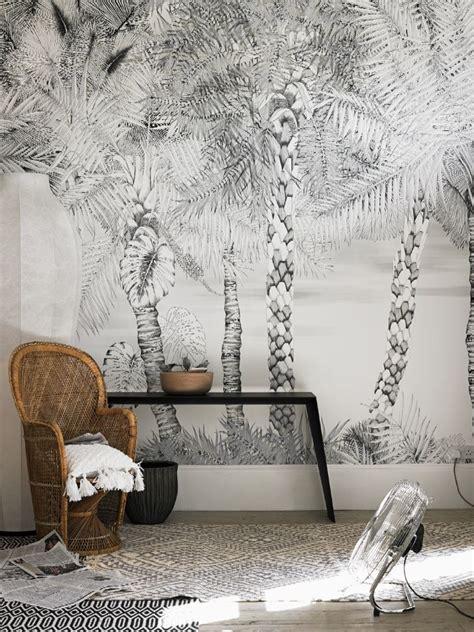 grey jungle wallpaper jungle tropical printed wallpaper trees grey
