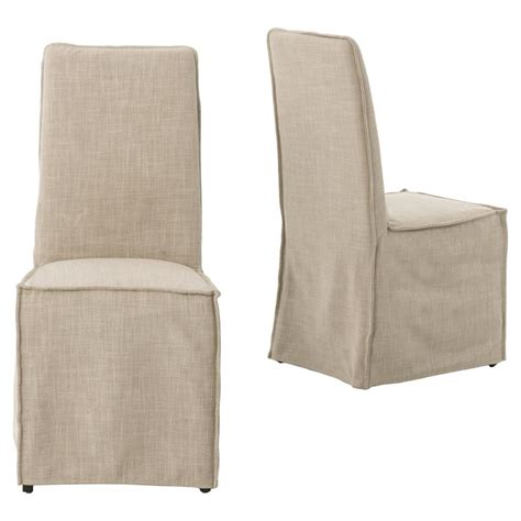 Linen Slipcovered Dining Chairs Lena Modern Classic Light Linen Slipcover Dining Chair Pair Kathy Kuo Home