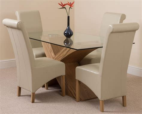 Glass And Oak Dining Table And Chairs Valencia Oak 160cm Glass Dining Table With 4 Brown Chairs