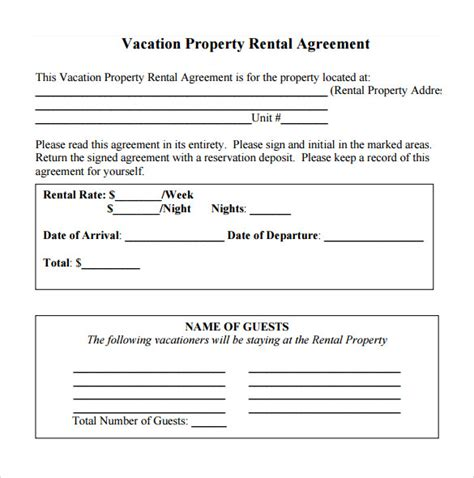 rental property agreement template simple rental agreement 11 free documents in
