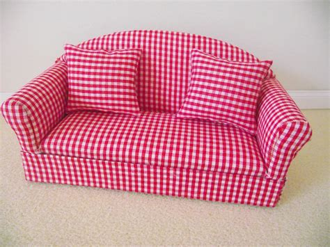 Miniature Doll House 12th Scale Furniture Red Gingham Sofa