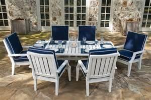 new 7 patio dining set white aluminum blue cushions
