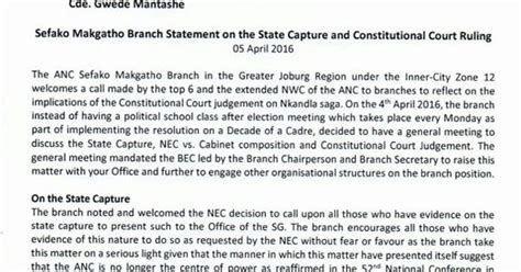 Zuma Resignation Letter Anc Branch Letter Zuma Must Go Or Disciplinary The Edge Search
