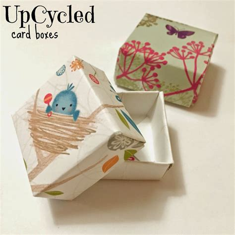 Make A Gift Box Out Of Old Greeting Cards - upcycled card boxes easy upcycled crafts for kids old greeting cards paper boxes