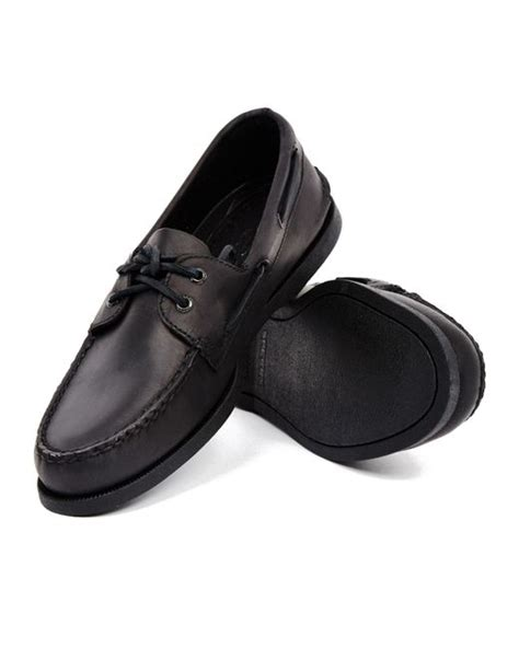 sperry top sider all black leather boat shoe in black for